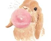 Rabbit Watercolor Painting PRINT - Nursery Art, Lop Eared Bunny, Animal Blowing Bubble Gum