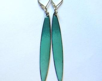 Green enamel bar earrings Long teal leverback earrings Modern enameled jewelry Simple turquoise minimalist stick dangles