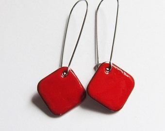 Red enamel geometric drop earrings Simple colorful surgical steel earrings Minimalist jewelry Red dangle earrings Blue Black Green Cream