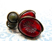 Green, Brown, and Red Antique Gold Wire Wrapped Stud Earrings, Earthy Brown and Red Wire Wrapped Earrings