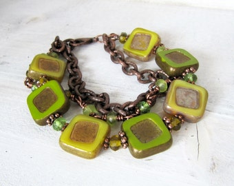 Yellow, Brown, and Green Earth Tone Boho Copper Beaded Bracelet, Copper and Yellow Green Wire Wrapped Beaded Bracelet