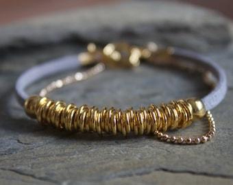Gold beaded bracelet, gold bracelet with beads, simple gold bracelet, grey gold bracelet, grey vegan faux suede bracelet, grey bracelet