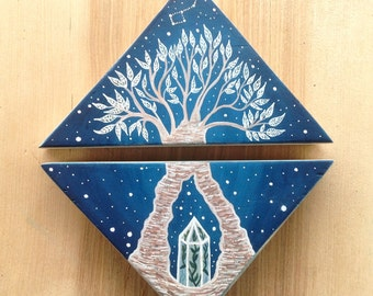 Original diptych Painting on wood, Big Dipper and bonsai