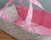 Doll Carrier, Bitty Baby Size, Soft Pink Paisley