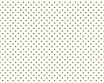 Le Creme Black swiss dots on cream basics by  Riley Blake - C600-110 blender