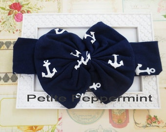 Nautical Navy Blue Baby headband, baby girl headband, baby head wrap, Navy Blue Bow Headband, Messy Bow Headband, Baby Headband Cotton