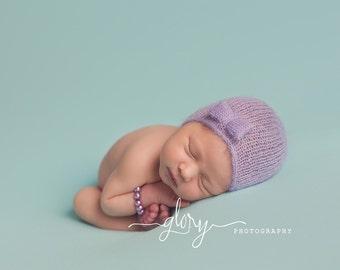 Newborn mohair Little bow bonnet.  Newborn photo prop