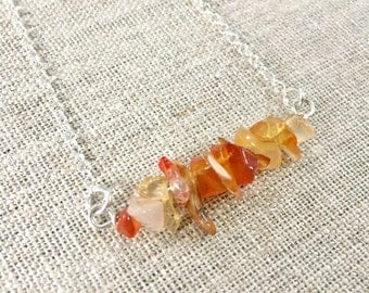 Carnelian Chips Sterling Silver Necklace