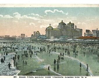 Vintage 1920 Postcard, Beach Front, Showing Hotel Traymore, Atlantic City, N.J.