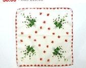 Vintage Christmas Handkerchief - Poinsettia Hankie Flower Bouquet - 1960's Straight Edge Hanky