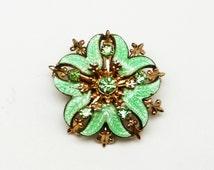 Green Enamel Art Deco Brooch - Curled Leaves, Green rhinestones, Rhinestone Brooch, Art deco enamel Pin