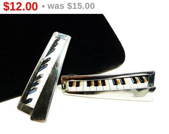 Piano Keyboard Earrings for Pierced Ears - Modernist Musical Instrument Jewelry - Vintage Retro 1970's Pop Art