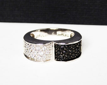 Sterling Silver & CZ's Ring - Black and White - Half and Half Modernist Band Ring - Signed 925 ADI for ADI Paz