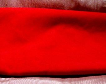Vintage Fabric Bright Red Velvet Remnant Craft Supply