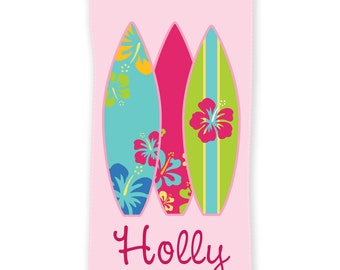 Surfer Girl Personalized Beach Towel 30x60, Personalized Beach Towel, Custom Beach Towel, Birthday Gift, Bridesmaid Gift, Christmas Gift