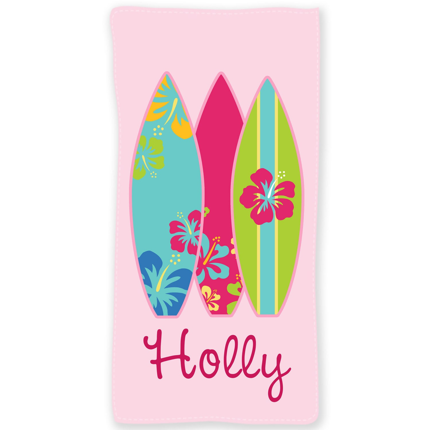 Personalized Beach Towel For Toddler: Surfer Girl Personalized Beach Towel 30x60 Personalized Beach