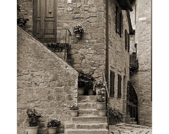 """Fine Art Sepia Photography of Tuscany - """"Steps and Home in Tuscany"""""""