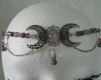 Fluorite Triple Moon Goddess Circlet, wiccan jewelry pagan jewelry wicca jewlery goddess jewelry witch witchcraft headpiece handfasting