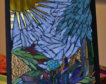 Bright sunny sky Glass Mosaic piece