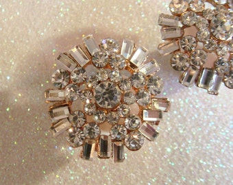 Rhinestone wedding ear plugs / bridal ear plugs / crystal plugs tunnels expanders / art deco GOLD ear plugs