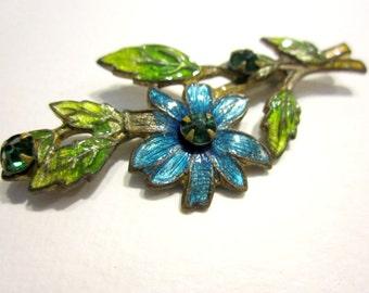"Vintage Guilloche Flower Pin 2"" Blue Flower Art Deco Nouveau Bar Pin ca: 1920 C Clasp Brass Pin"