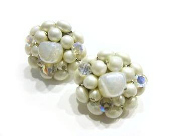 Vintage Pearl Clip Earrings White Glass Crystal Bead Pearl Jewelry Wedding Earrings Aurora Borealis