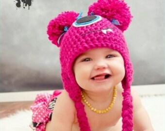 Summer SALE Hot Pink lil' Monster crochet hat