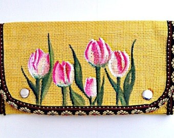 Hand Painted Purse- Yellow Clutch- Flower Purse- Burlap Purse- Coin Purse- Card Wallet- Travel Wallet- Fabric Wallet- Womens Gift- Mom Gifts