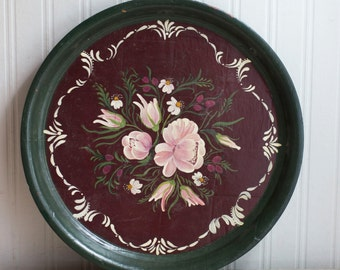 Vintage Toleware Tray, Vintage Serving Tray, Decorative Floral Tray, Hand Painted Rose, Shabby Chic Decor, Burgundy Wine, Emerald Green Pink