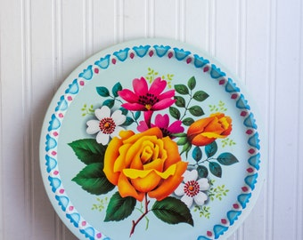 Vintage  Shabby Chic Flower Tray, Elite Trays England, Decorative Floral Decor, Kitsch Retro Kitchen Decor, Aqua Turquoise Blue, Hot Pink.