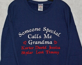Grandma Sweatshirt, Grandparent Gift, Nana, Mimi, Mammy, Ma, Gam, Custom Personalize With Six Names, No Shipping Fee, Ships TODAY, AGFT 760