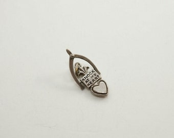 Vintage Sterling Knock at my Heart Movable Charm