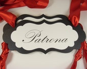 Patron and Patrona Wedding Chair Signs in my Elegant Vintage Label Design for the Bride and Groom Chairs