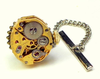 Steampunk Tie Tack, Men's Formal Wear, Cosplay Fashion, Ruby Jeweled, Vintage Watch Movement
