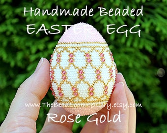 Handmade Beaded Easter Egg with Swarovski Crystals and 24K Gold Plated Seed Beads - Rose Gold