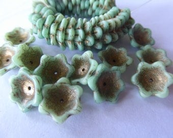 NEW COLOR 15 Large Light Blue Green Flowers with Picasso Veins and Center Accents   15mm in size