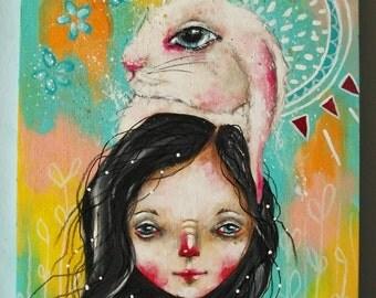 folk art Original girl painting mixed media art painting on wood canvas 8x6 inches - Summer Breeze