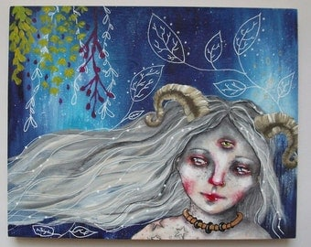 folk art Original magical girl painting whimsical mixed media art painting on wood canvas 8x10 inches - Run away with your dreams