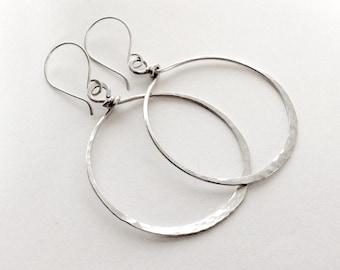 Sterling Silver Earrings, Hoop Earrings Very Large Earrings Handcrafted Earrings Sterling Silver Hoops Chunky Sterling Silver Hoop Earrings