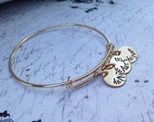 Custom names bangle stamped women's gold or silver bracelet Alex and Ani Style layering layered