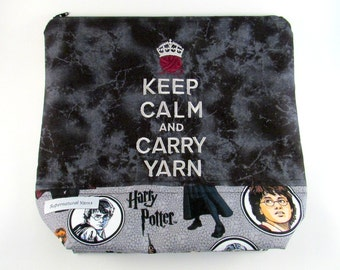 Harry Potter - Keep Calm & Carry Yarn Zippered Project Bag