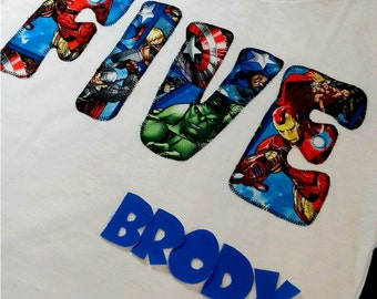Superhero birthday shirt for boys, avengers shirt boys, FOUR shirt, FIVE shirt, 5th birthday boy, 4th birthday boy, captain america