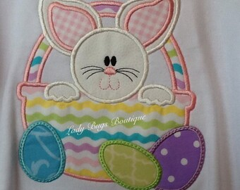 "Bunny in Easter Basket Girls Ruffle Shirt""*****Please Read Shop Announcement*****"