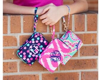Personalized monogram wristlet purse