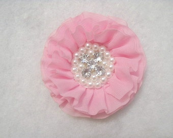 "3"" Large Chiffon Ruffled Rhinestone And Pearl Flower Pink"