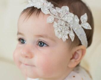 Flowergirl - Girls Headband - Baby Headband - Newborn Headband - Lace and Swarovski Crystals