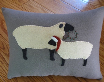 Happy Holidays to Ewe Sheep Christmas Wool Applique Pillow