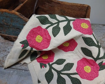Two Vintage Handsewn Calico Flower Appliqued Quilt Pillow Squares