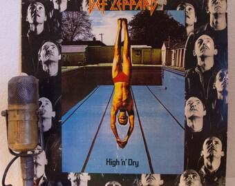 "Def Leppard Vinyl Record Album 1980s British Hard Rock and Roll ""High and Dry""(Original 1981 Mercury/Polygram Records w/ photo inner sleeve)"