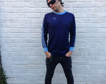 Retro 1970s Adidas shirt Navy blue and baby blue with the number 3  Small/Medium Unisex